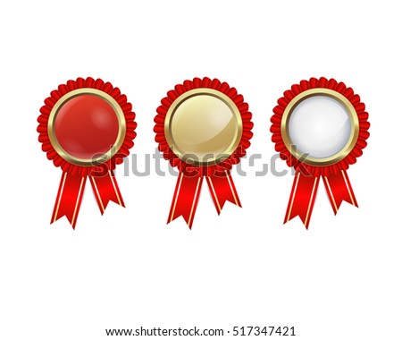 golden badges with red ribbons
