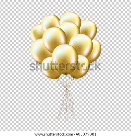 Golden Balloons Sheaf, Isolated on Transparent Background, With Gradient Mesh, Vector Illustration - stock vector