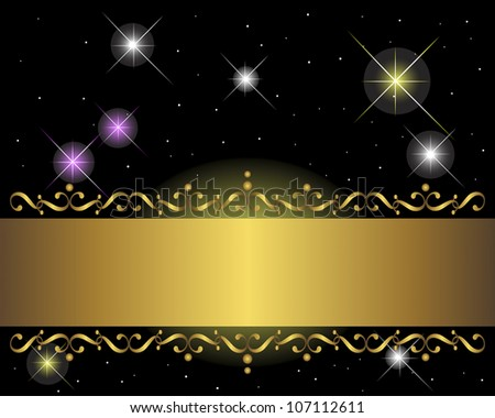 Golden banner on black background with glittering stars. Vector illustration. - stock vector