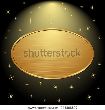 golden banner on black background with stars - stock vector