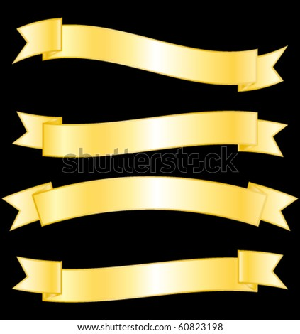 Golden banners collection. Vector set. - stock vector