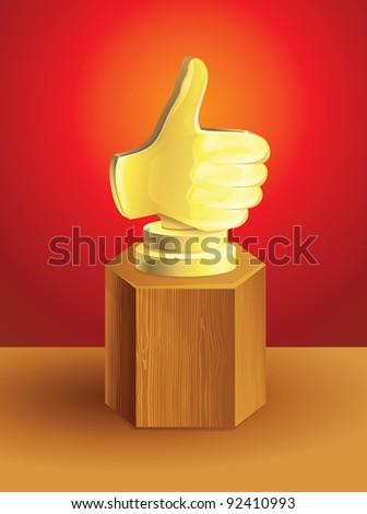golden best choice award on wooden pedestal - vector illustration - stock vector