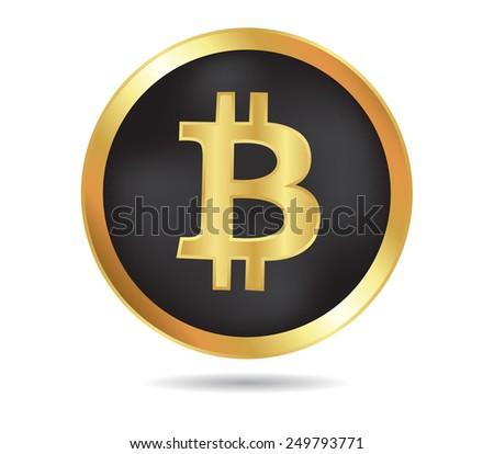 Golden bit coin.Digital currency.Vector bit coin. - stock vector