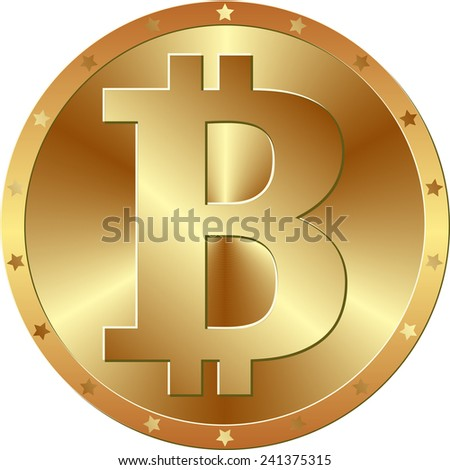 golden bitcoin - cryptocurrency - stock vector