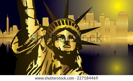 Golden - blue New York and Statue of Liberty in Night - vector - stock vector