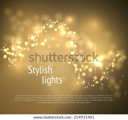 Golden bokeh wave vector background. Vector eps10. - stock vector