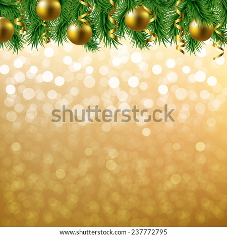 Golden Bokeh With Fir Tree Border With Gradient Mesh, Vector Illustration - stock vector