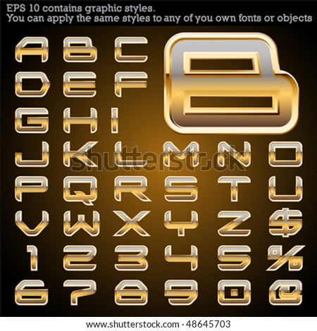 Golden bordered typeface. File contains graphic styles available in the Illustrator 10 + You can apply the styles to any of you own fonts or objects - stock vector