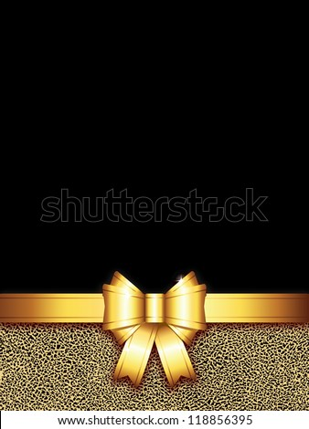 golden bow background (also available jpg version) - stock vector