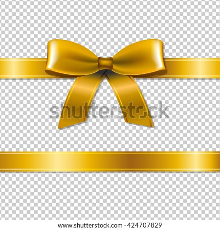 Golden Bow Isolated, Isolated on Transparent Background, With Gradient Mesh, Vector Illustration - stock vector
