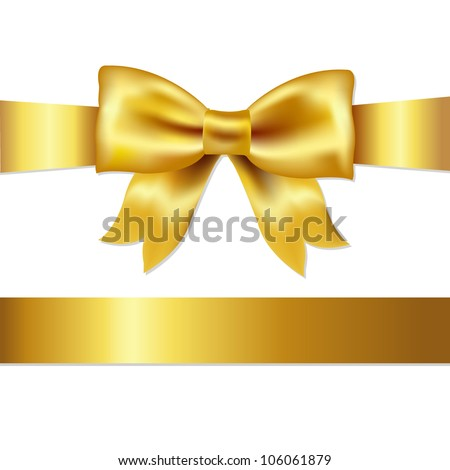 Golden Bow, Isolated On White Background, Vector Illustration - stock vector