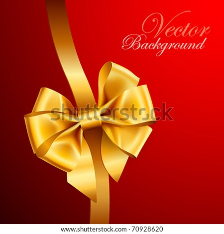 golden bow on red background. Vector illustration - stock vector
