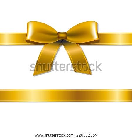 Golden Bow With Gradient Mesh, Vector Illustration - stock vector