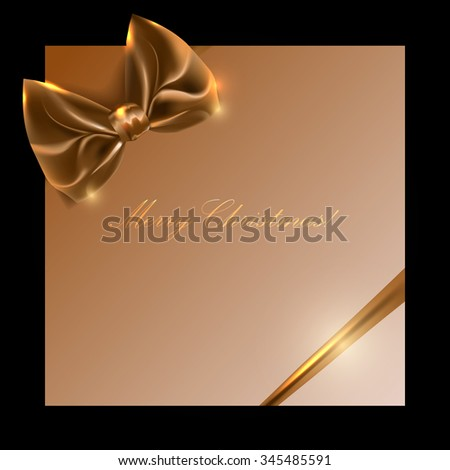 golden box with bow and ribbon on a black background, vector - stock vector