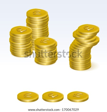 Golden British Pound Sterling Coins Stacks Vector Icons - stock vector