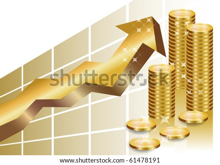 Golden business graph with arrow pointing up and a stack of golden coins showing profit and gain in a successful organisation. - stock vector
