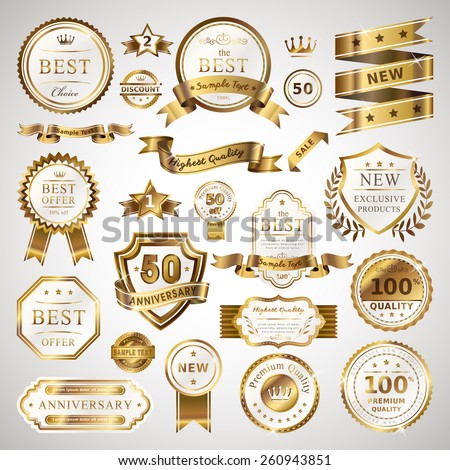 golden business labels set isolated over grey background - stock vector