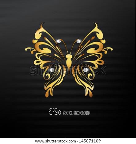 Golden butterfly background Vector. - stock vector