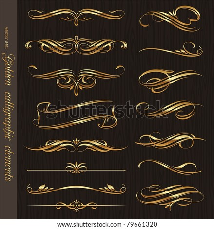 Golden calligraphic vector design elements on a black wood texture background - stock vector