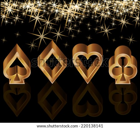 Golden casino card with poker elements, vector illustration - stock vector
