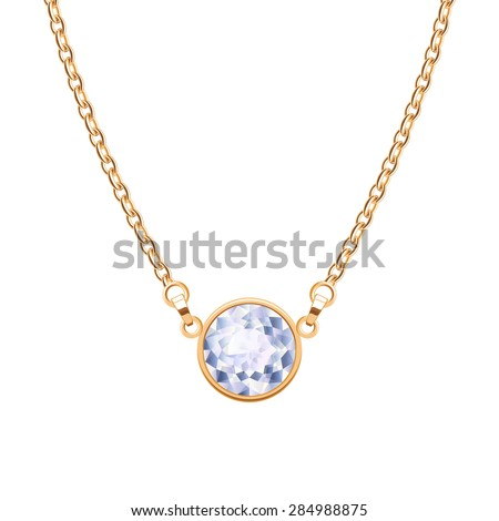 Golden chain necklace with round diamond pendant. Jewelry design.