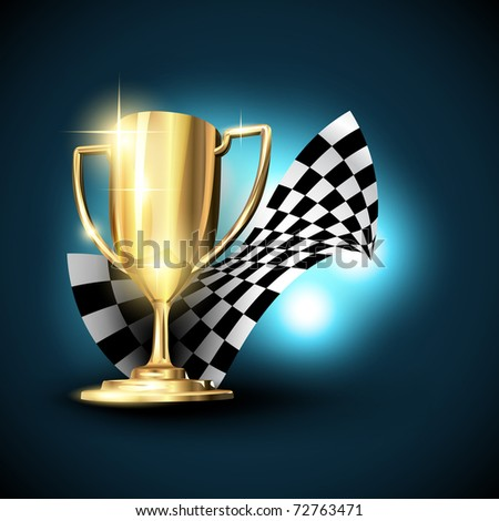 golden champion trophy vector design