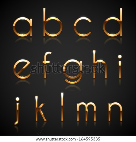 Golden characters collection - lowercase version - eps10 - stock vector