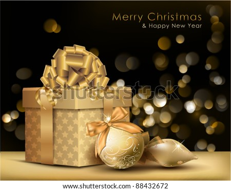 Golden Christmas Background. Vector Illustration. - stock vector