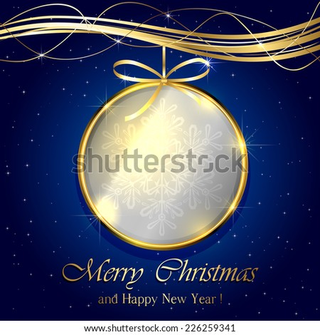 Golden Christmas ball on blue background, illustration. - stock vector