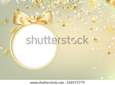 Golden christmas ball on white background with blurred sparks and confetti. Vector illustration. - stock vector
