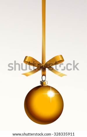 Golden christmas ball with gold ribbon decoration symbol - stock vector