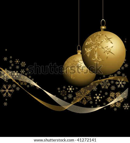 Golden Christmas bauble with snowflakes on black background - stock vector