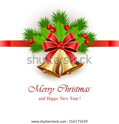 Golden Christmas bells with red bow and Holly berries on white background, illustration. - stock vector