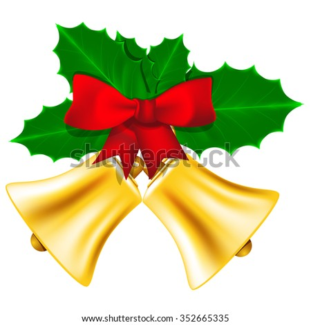 Golden Christmas bells with red bow and leaves of holly - stock vector