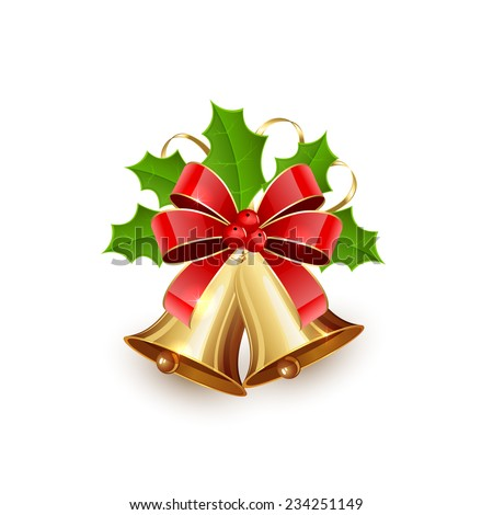 Golden Christmas bells with red bow, tinsel and Holly berries isolated on white background, illustration. - stock vector