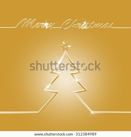 Golden Christmas card with the contours of the golden shimmering Christmas tree with gold star and golden inscription Merry Christmas - stock vector