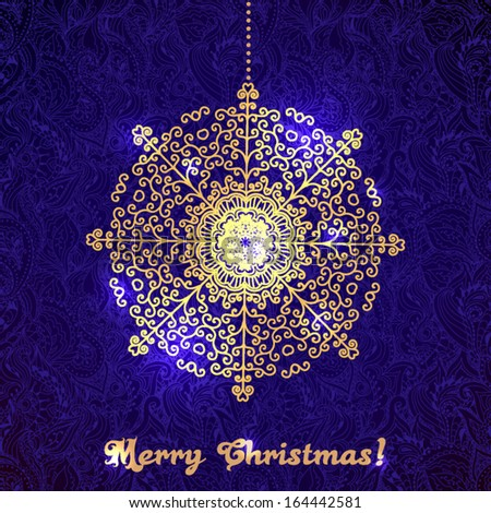 Golden Christmas decoration round on the beautiful purple ornamental background. - stock vector
