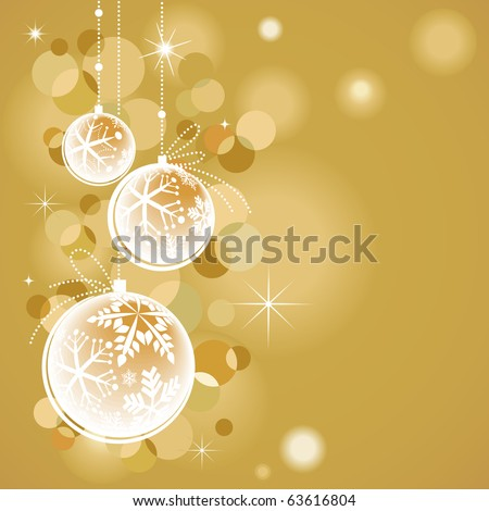 Golden Christmas decorations - stock vector