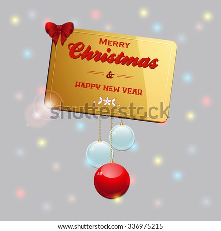 Golden Christmas Gift Card with Bow and Baubles Over Glowing Background - stock vector