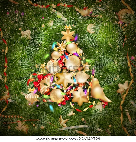 Golden Christmas greeting with baubles on fir-tree branches. EPS 10 vector file included - stock vector