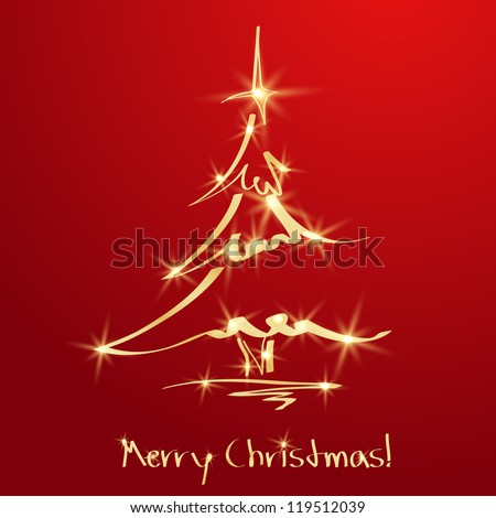 Golden Christmas tree on red background. Sketch. EPS10 - stock vector