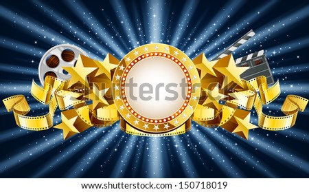 Golden cinema marquee banner, EPS 10 contains transparency. - stock vector