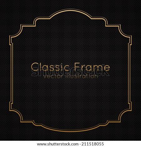 Golden classic frame, border on textured background. Vector illustration - stock vector