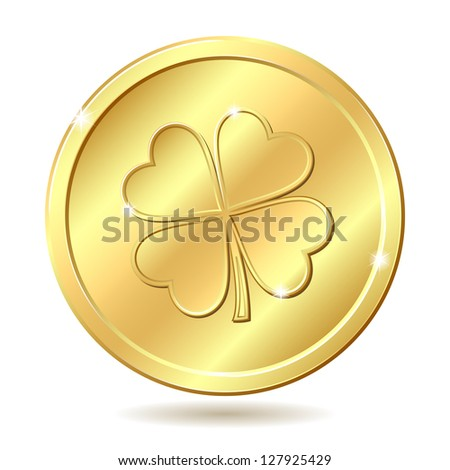 Golden coin with four leaf clover. St. Patrick's day symbol. Vector illustration - stock vector