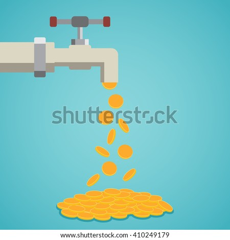 Golden coins fall out of the tap. Vector illustration