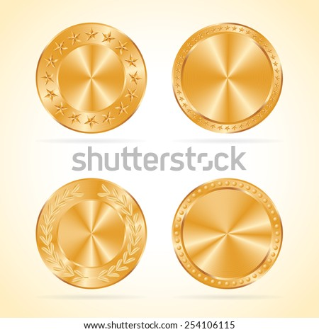 Golden coins vector set. - stock vector