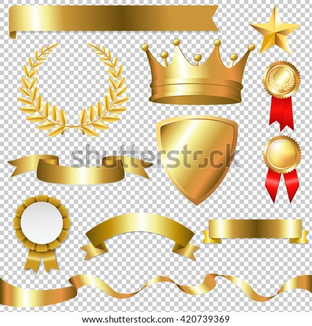 Golden Collection Isolated, Isolated on Transparent Background, With Gradient Mesh, Vector Illustration - stock vector