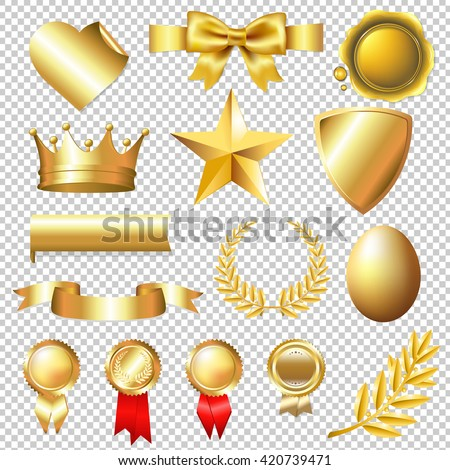 Golden Collection, Isolated on Transparent Background, With Gradient Mesh, Vector Illustration - stock vector