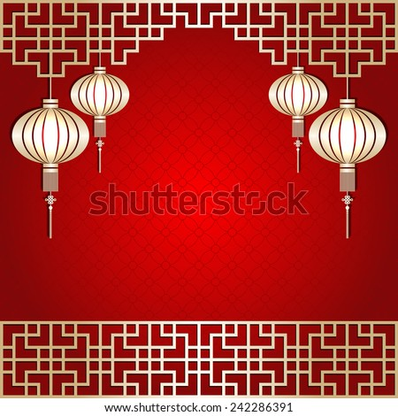 Golden Color Chinese New Year Lantern Background - stock vector