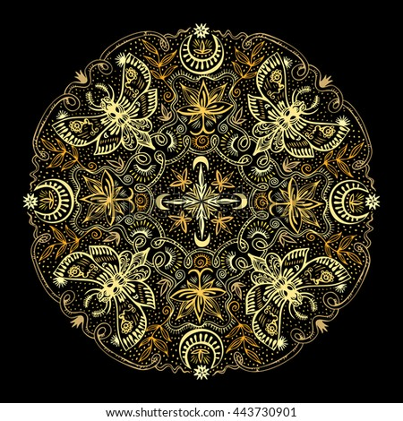 Golden colors mandala. Hand drawn zenart with night moths, lotuses, moons. Round lacy ornament for print or t-shirt fashion design. Spirituality and magic concept. Vector illustration. - stock vector